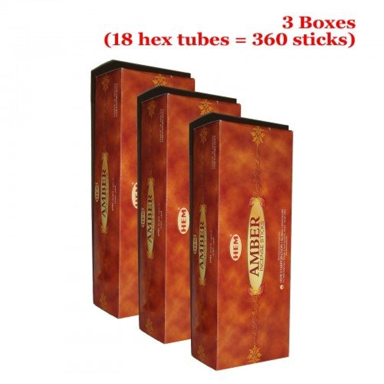 Hemアンバー香、3ボックス – (360 Sticksバルクper order)