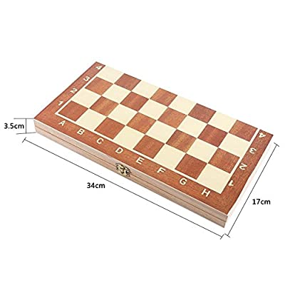 Foldable Wooden Chess Game Board Set With Crafted Pieces And Storage In The Wooden Board , 14 Inch