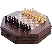 Deluxe Wooden Octagonal Chess and Checkers Set - Includes Bonus Deck of Cards!