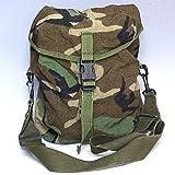 ノーブランド品 実物 米軍 ガスマスクバッグ ショルダーバッグ 防水コーティング ウッドランドカモフラージュ