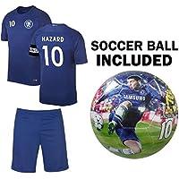 Hazard Kidsジャージー+短パン+ボール=プレミアムギフトセットチェルシーEden Hazard # 10 Youth Soccer Ball Size 5 Football