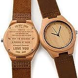 CUCOL メンズ 木製腕時計 ブラウン 牛革ベルト カジュアルウォッチ 花婿付き添い人へのギフトに ボックス付き for my dad