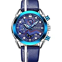 Mans Watch Waterproof Sports Quartz- SUNVEN Watches for Men Water Resistant 30M Blue Leather Strap Day Military Style