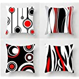 """Emvency Set of 4 Throw Pillow Covers 18x18 Inches Decorative Cushion Yellow Animal Anatomy Squirrel Pug Elephant Unicorn Polyester Pillow Cases Square Pillocases for Bed Sofa, Polyester & Polyester Blend, Red Black, 18""""x 18"""""""