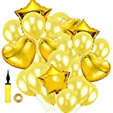 SWEET PARTY 【豪華26点セット ハート スター アルミ風船 + パールバルーン + リボン + ハンドポンプ】誕生日 結婚式 二次会 パーティー 飾りつけ (ゴールド)