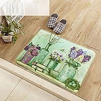 屋内外のドアマット 滑りやすいマットドアエントランスリビングルーム吸収性フットパッドバスルームバスルームキッチンバスルーム玄関マットストリップ家庭用 (Color : A, サイズ : 40cm × 60cm)