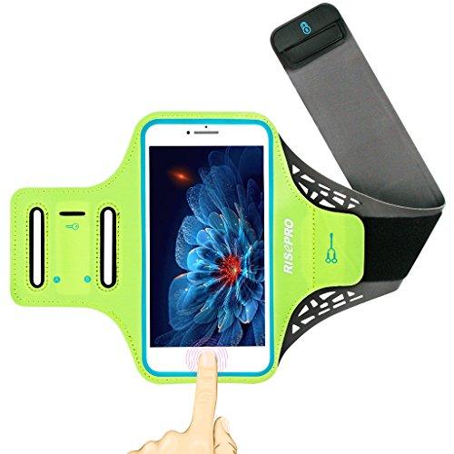 iPhone 7 plus アームバンド RISEPRO ランニングアームバンド 指紋ロック解除可能 5.5インチ大画面スマホに最適 キーホルダー/ミニ収納ポケット付 グリーン
