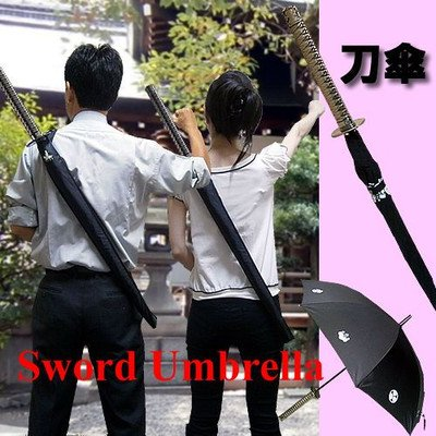 ノーブランド品 家紋が浮き上がる刀型傘(日本刀の形をした傘)忍者刀傘・侍刀傘