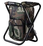バックパックチェア 椅子付リュック 折りたたみチェア 軽量 耐荷重150kg 防水保温保冷 (迷彩)