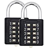 MIONI Guard Security 10 Digit Push Button Combination Padlock, 5 Digit Locking Mechanism, (2 Pack)