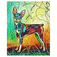 LovetheFamily カラフルな漫画犬 数字油絵 数字キット塗り絵 手塗り DIY絵 デジタル油絵 ホーム オフィス装飾 40x50cm (フレーム付き)