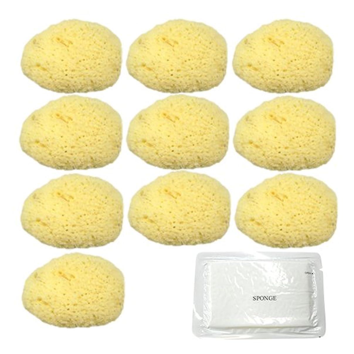 シャワー勇者立ち向かうユタカ 天然海綿スポンジ(フェイススポンジ) 大 × 10個 + 圧縮スポンジセット