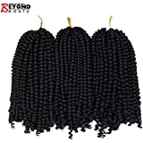 3 Pack Spring Twist Crochet Braids Bomb Twist Crochet Hair Ombre Colors Synthetic Fluffy Hair Extension 8inch 110g (#1B)