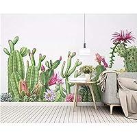 Ansyny カスタム壁画3D壁紙現代シルク素材手描き植物サボテン壁紙絵画壁紙家の装飾-220X140Cm