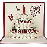 誕生日カード 「誕生日ケーキ」子供バースデーカード 立体 ポップアップカード クリスマス 3Dグリーティングカード 感謝状 封筒付き