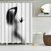 シャワーカーテンウォータープルーフカビフリーポリエステルウォッシャブルカーテン150x180cm (女性の影)