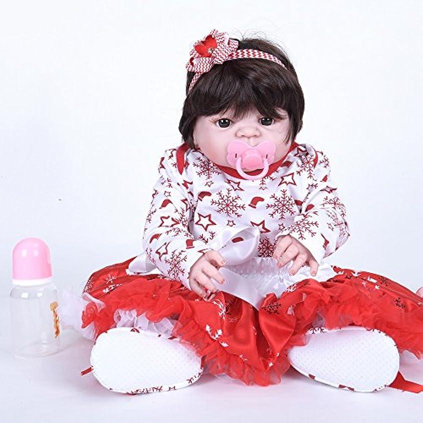 裕福な版啓発するPKJOkmjko シミュレーション人形全シリカゲル赤ちゃん幼児教育迫真の女の子の人形迫真再生人形おもちゃ人形姫児童玩具子どもの誕生日プレゼントは身長約55センチ