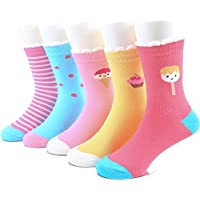 SUNBVE Baby Toddler Little Big Girls' Ice Cream Cute Cotton Crew Socks 5 Pack