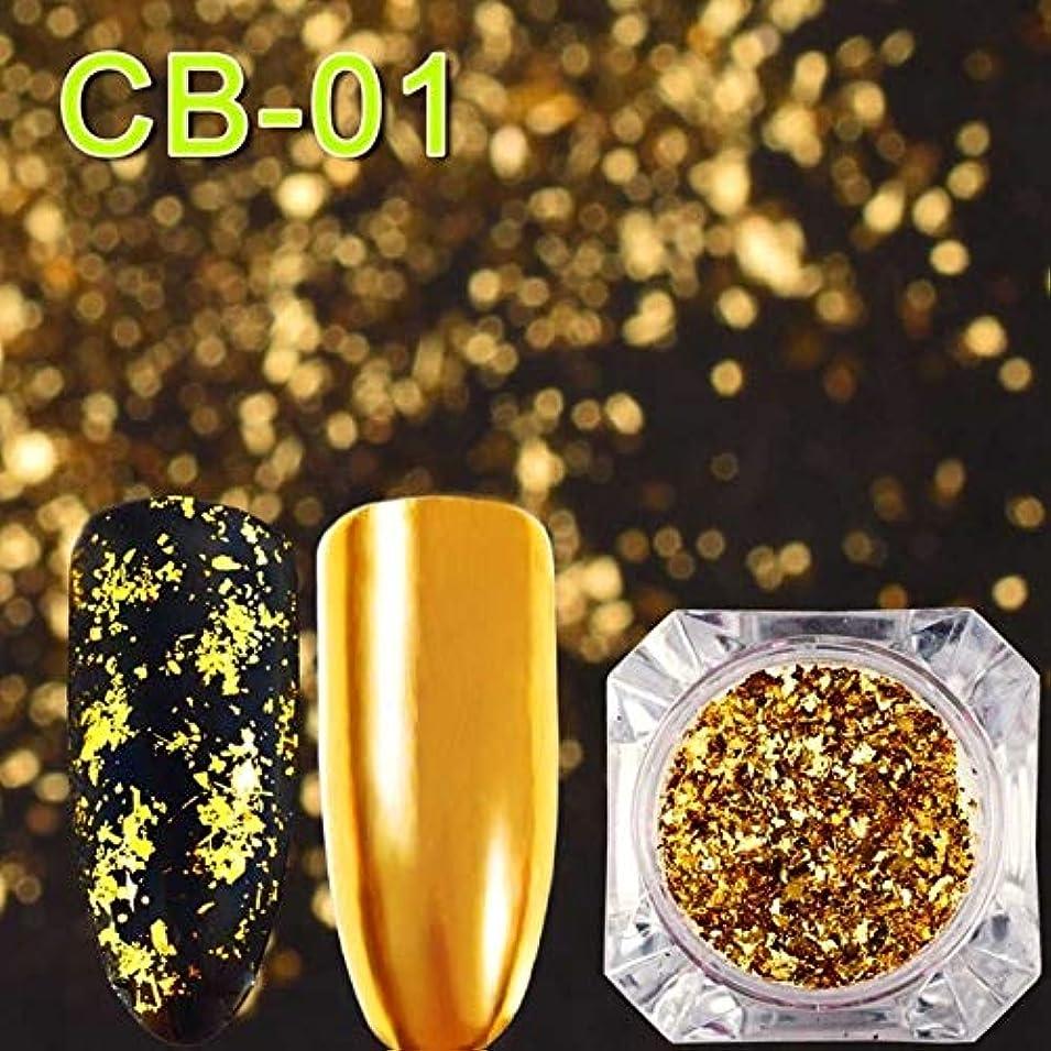 九時四十五分クアッガ矢じりCELINEZL CELINEZL 3 PCSマジックミラーカメレオングリッターネイルフレークスパンコール不規則なネイルデコレーション(CB01) (色 : CB01)