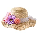 (コネクタイル)Connectyle キッズ ガールズ 夏 可愛い 麦わら帽子 花飾り ビーチ帽子 リボン付き ストローハット