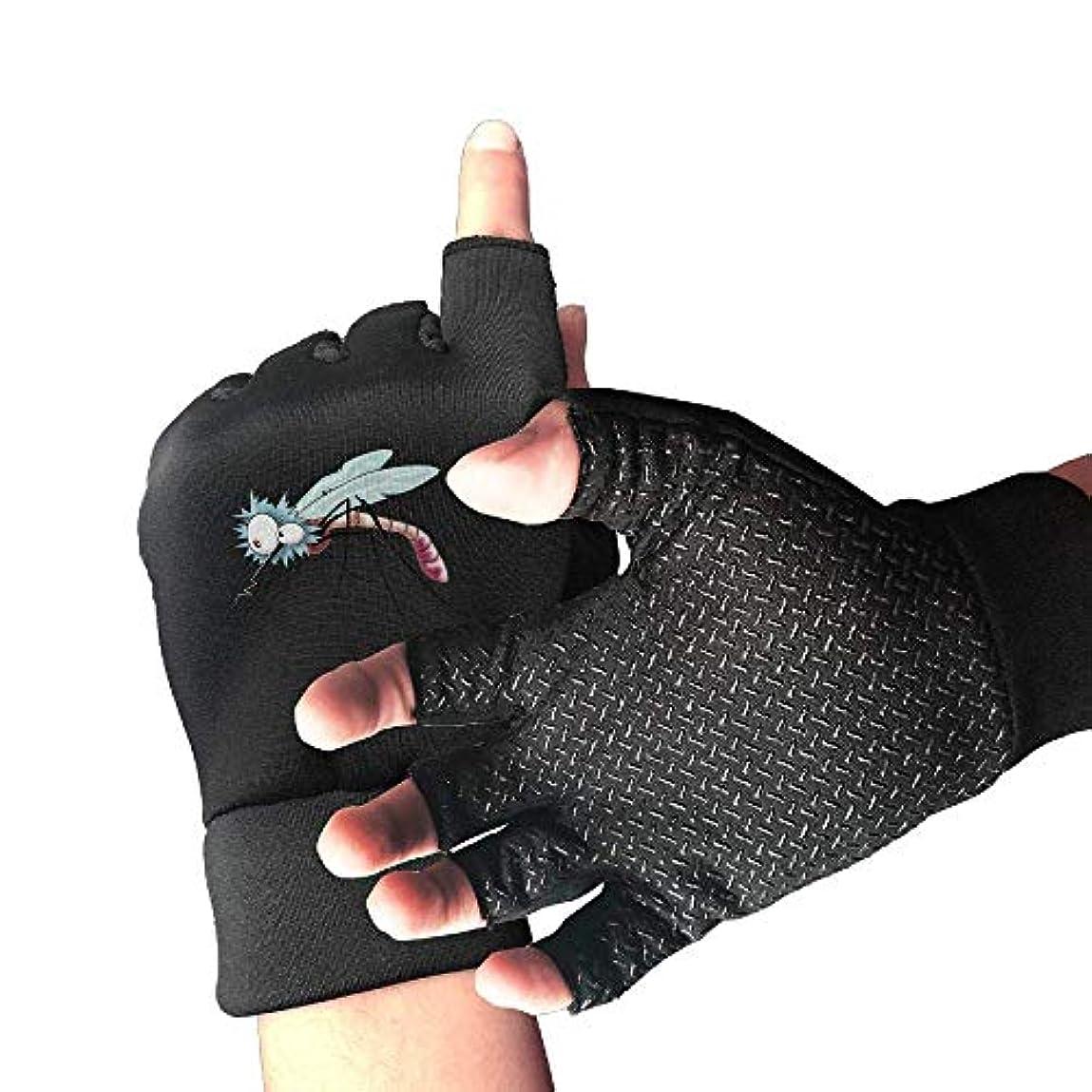 民間地下室パットサイクリンググローブ蚊と大きな目を持つ男性/女性のマウンテンバイクの手袋半指滑り止めオートバイ手袋