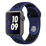 ナイキ スポーツ Desertwest Apple Watch バンド アップルウォッチ バンド スポーツバンド ベルト 柔らかシリコンNike+/Apple Watch Series 3/Apple Watch Series 2/Apple Watch Series 1対応 交換バンド(42mm, 黒+青)