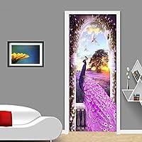 Xbwy 3D壁紙モダンパープルピーコックドリームラベンダーロマンチックファッション壁画ドアステッカーリビングルームの寝室Pvc防水インテリア-250X175Cm