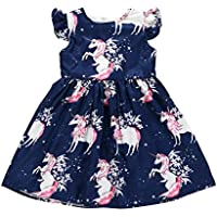 Wang Xiang Toddler Baby Girls Short Sleeve Dress Little Girls A-Line Princess Casual Dress