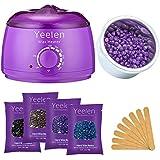 Yeelen Hair Removal Hot Wax Warmer Waxing Kit Wax Melts + 4 Flavors Hard Wax Beans + 10 Wax Applicator Sticks