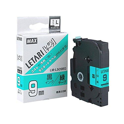 マックス ビーポップミニ テープカセット テープ幅9mm 緑地に黒文字 LM-L509BG