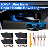 Inner Door Bowl Light Kits Blue Atmosphere Light Interior LED Decoration Door Bowl Handle Frame Light for RAV4 2019 2020, 4PCS with Removal Tool