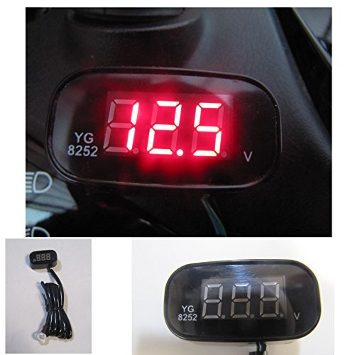 KJT 小型防水LEDボルトメーター レッド 12V専用 コンパクト電圧計 バイク用 YG-8252 YG-8252