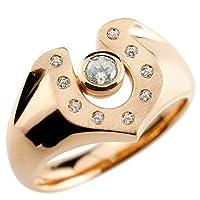 [アトラス] Atrus メンズ 馬蹄 ホースシュー 印台 指輪 リング ダイヤモンド ピンクゴールド 18金 マット仕上げ(馬蹄部印面) 9号