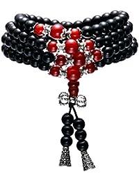 108ビーズオブシディアンブレスレットメノウ仏教祈りネックレスラップブレスレットリンク手首チベット数珠ブレスレット