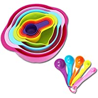 Tenta Kitchen 13 Piece Mixing Bowl Set with Measuring Cups and Spoons - Large and Small Plastic Mixing Bowls with Colander and Micro Strainer - Nesting Colourful Kitchen Bowls for Baking and More