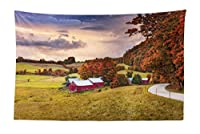 """lunarable Landscapeタペストリー、秋シーンJenneファームバーモント州のUnited StatesバーンFall Season Historic Places、ファブリックWall Hanging Decor寮の寝室リビングルームマルチカラー 45"""" W By 30"""" L micwid_53199_45x30"""