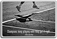 Billie Jean King, Champions Keep Playing Until They Get It Right - motivational inspirational quotes fridge magnet - 蜀キ阡オ蠎ォ逕ィ繝槭げ繝阪ャ繝
