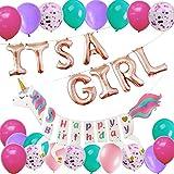 ベビーシャワー パーティー デコレーション ローズゴールド 「its a Girl」ホイルバルーンとユニコーン Happy Birthdayバナー 女の子の誕生日 ベビーシャワー パーティー用品