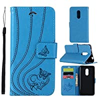 MGVV Xiaomi Redmi Note 4/Note 4X Wallet Case, [Butterfly Embossing] Folio Folding Wallet Case Flip Cover Protective Case with Card Slots and Kickstand for Xiaomi Redmi Note 4/Note 4X - Blue