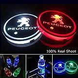 YenCar 車用 LED ドリンクホルダー レインボーコースター 車載 ロゴ ディスプレイライト LEDカーカップホルダー マットパッド (プジョー Peugeot)