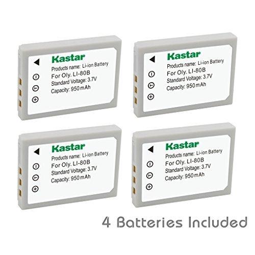 Kastar Battery ( 4- Pack ) for Olympus li-80b、Konica Minolta np-900Work withオリンパスT - 100、t-110、x-36、Konica Minolta Dimage e40、e50、Kyocera ez4033など。カメラ