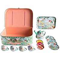 HearthSong ® Fairy Tea Set – 15 Piece Unbreakable Tin Tea Set Kids Pretend Play Tea Party