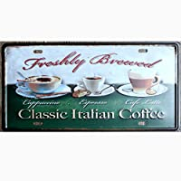 金属製ブリキ看板 クラシック イタリアン コーヒーバー カフェ ガレージ 壁装飾 レトロ ヴィンテージ 12 x 6インチ