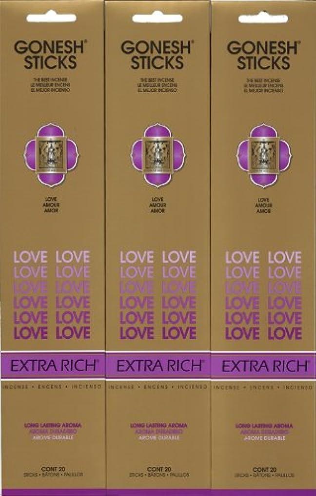 平和水満員GONESH LOVE ラブ スティック 20本入り X 3パック (60本)