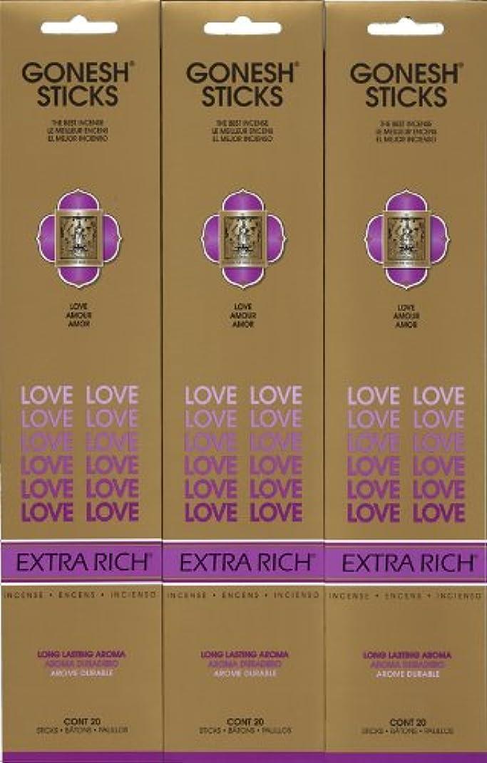 熱帯の振るう膜GONESH LOVE ラブ スティック 20本入り X 3パック (60本)