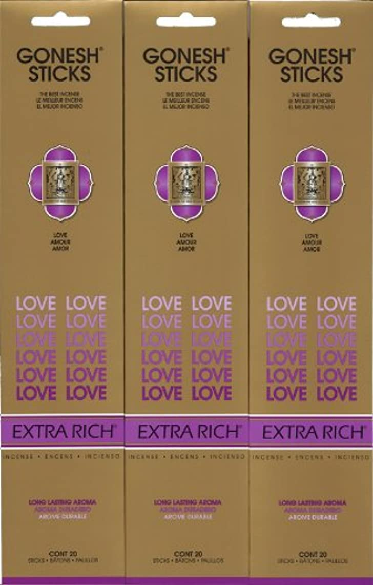 マウスピース調和六分儀GONESH LOVE ラブ スティック 20本入り X 3パック (60本)