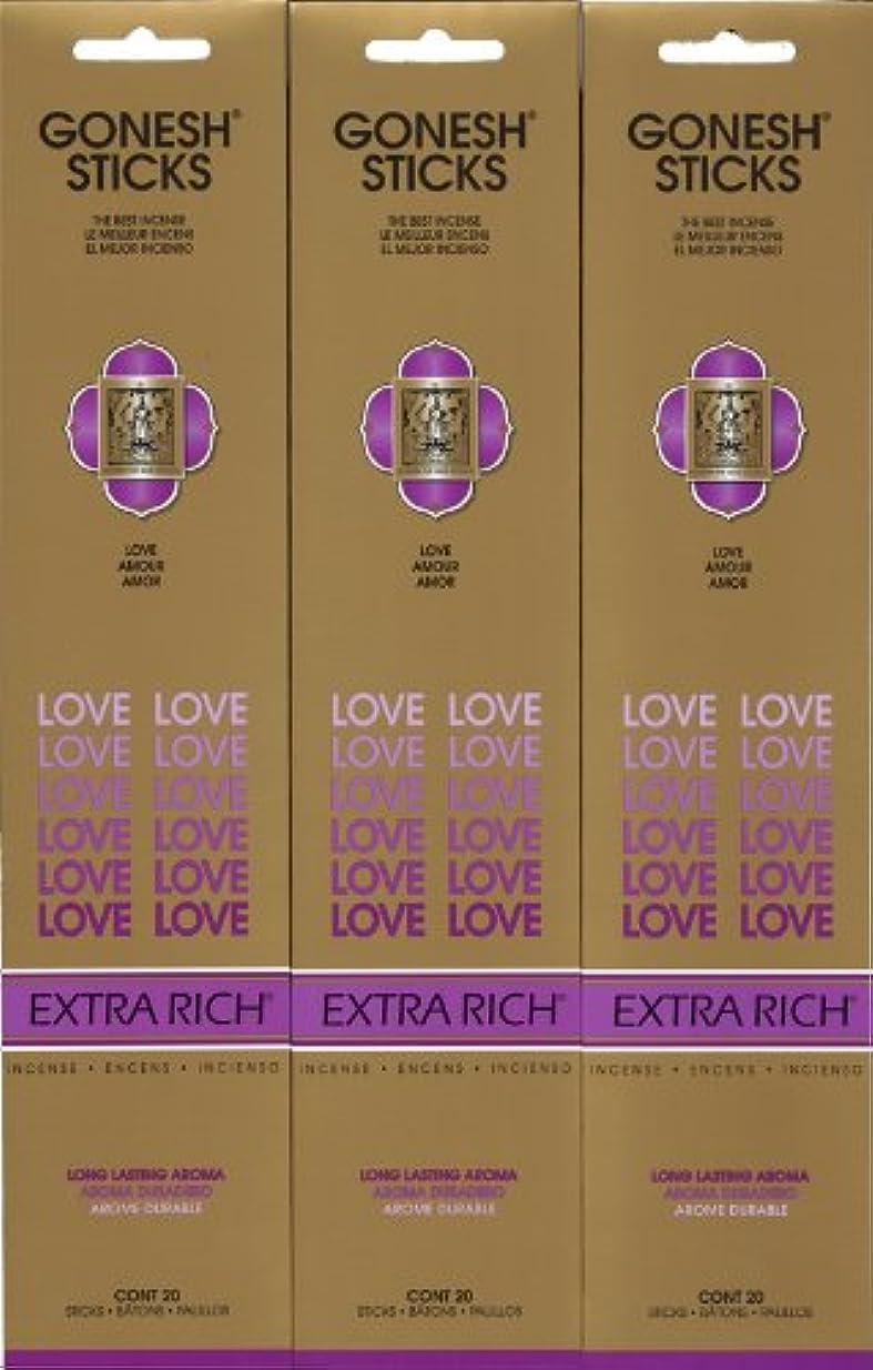 キノコ戦士楽しませるGONESH LOVE ラブ スティック 20本入り X 3パック (60本)