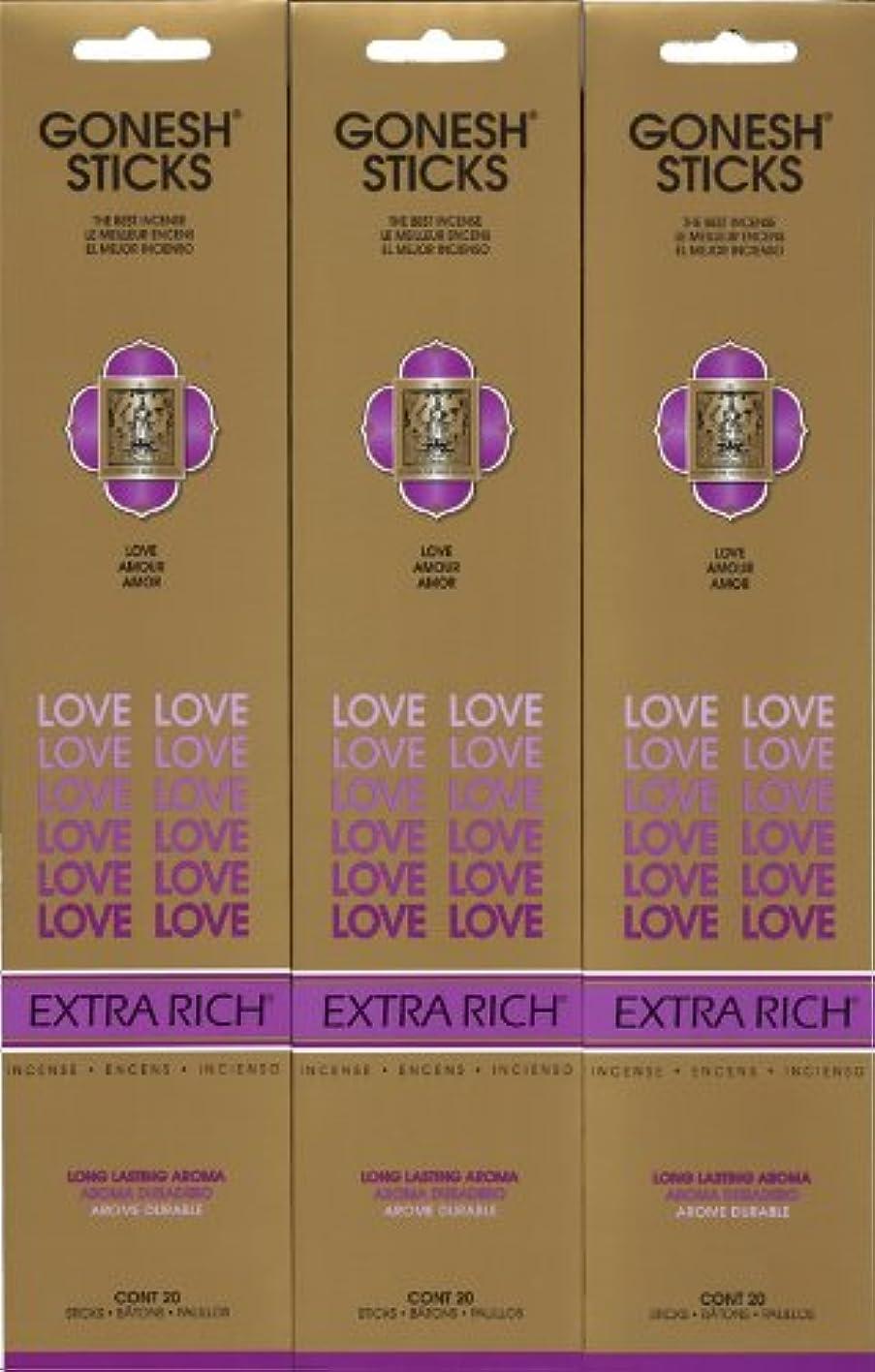 忍耐パパ種類GONESH LOVE ラブ スティック 20本入り X 3パック (60本)