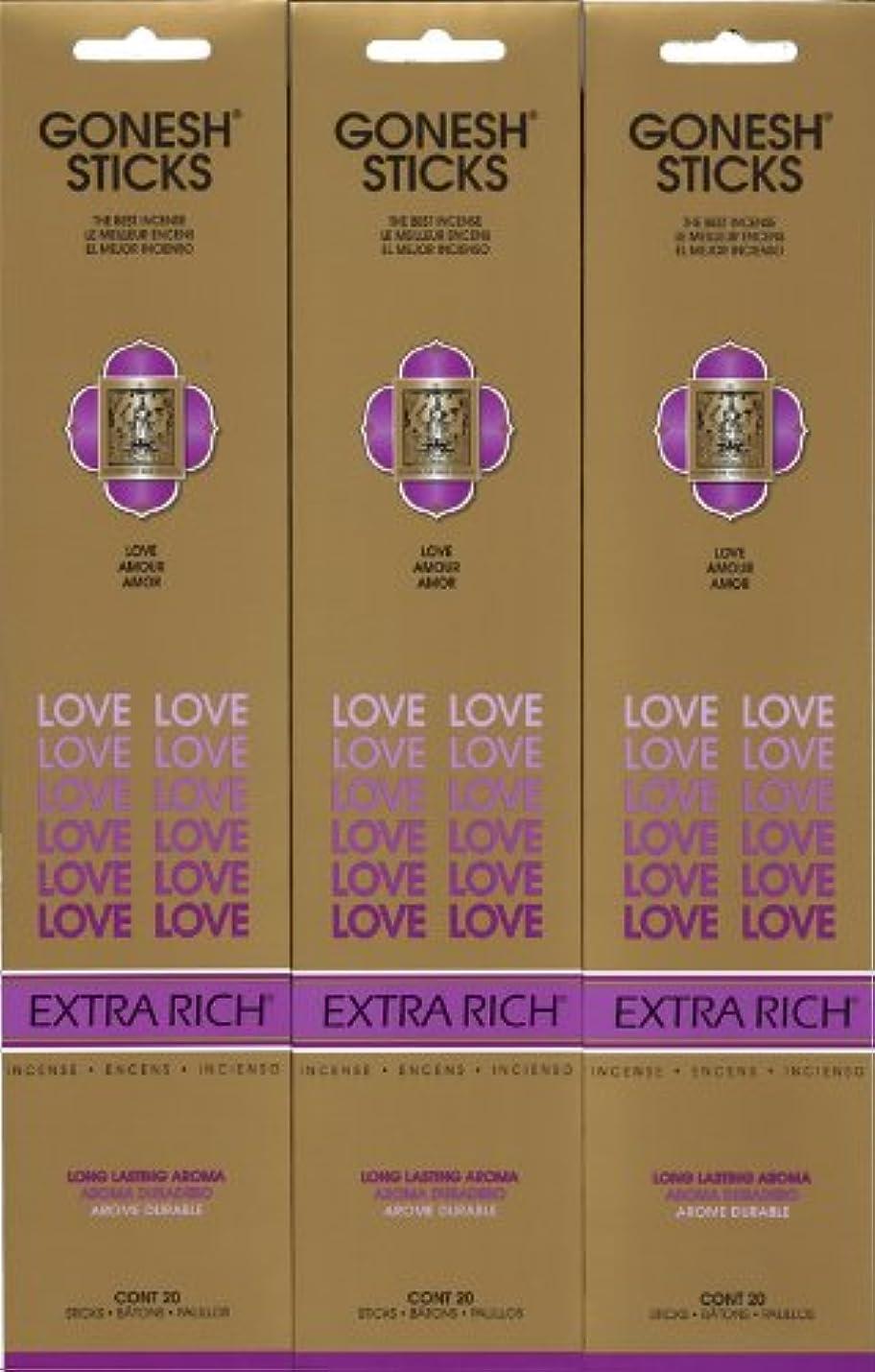 GONESH LOVE ラブ スティック 20本入り X 3パック (60本)