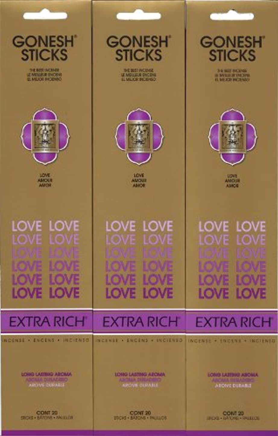 レビューバルクサンダーGONESH LOVE ラブ スティック 20本入り X 3パック (60本)